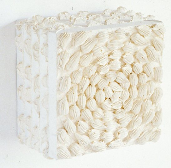 Michael Stubbs, Untitled cream, 1991, oil paint on stacked canvases, 36 x 36 x 23 cm