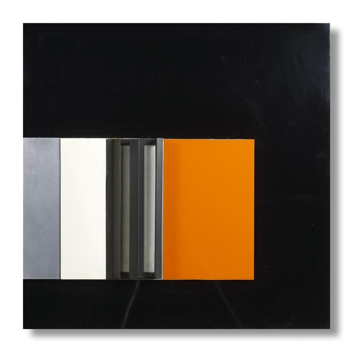 Anthony Hill, Tango, 1974, perspex aluminium painted aluminium on plastic and wooden board 61 x 61.5 cm