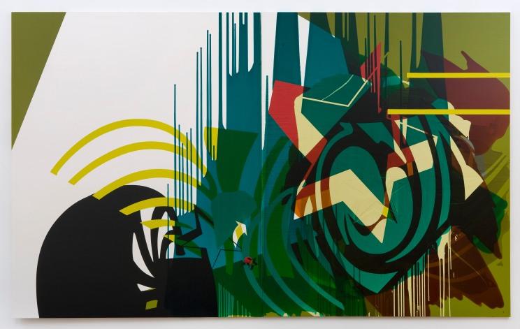 Michael Stubbs, Blue Virus Mix 05, mix media,  244 x 396 cm