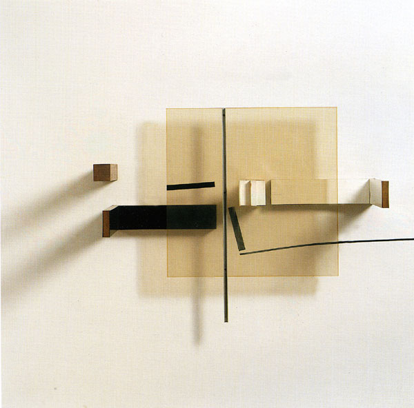 Victor Pasmore, Abstract in White Black Silver and Mahogany, 1965, projective relief construction painted wood and plastic, 122 x 122 x 36.5 cm