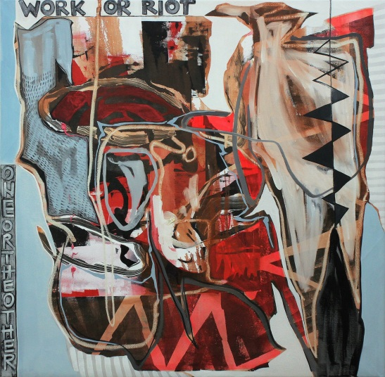 Andrea Medjesi - Jones, Work or Riot, 2012, acrylic, oil and pigment on canvas, 170cm x 170cm
