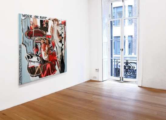 Andrea Medjesi-Jones, 'Work or Riot', 2012, acrylic, oil and pigment on canvas, 170 x 170 cm, installation view. Courtesy Laurent Delaye Gallery, photo by A.Zangirolami