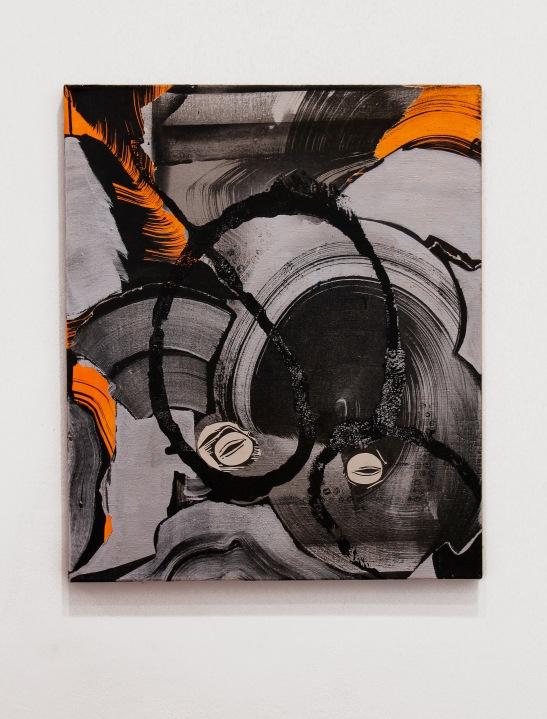 Andrea Medjesi-Jones, Shut your mouth (Gudrun), 2013, Acrylic, aluminium powder and pigment on linen, 60cm x 50 cm