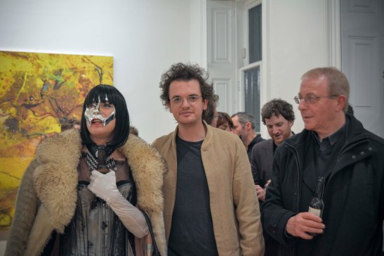 Stefan Ruitenbeek at the private view night. Peter Lamb's work 'Golden Army', 2013.