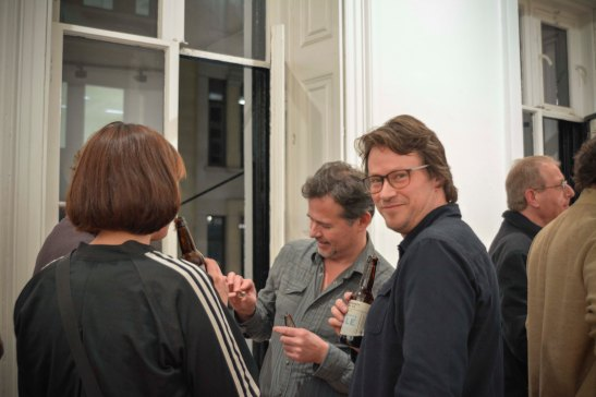 Laurent Delaye and Peter Lamb during the private view night.