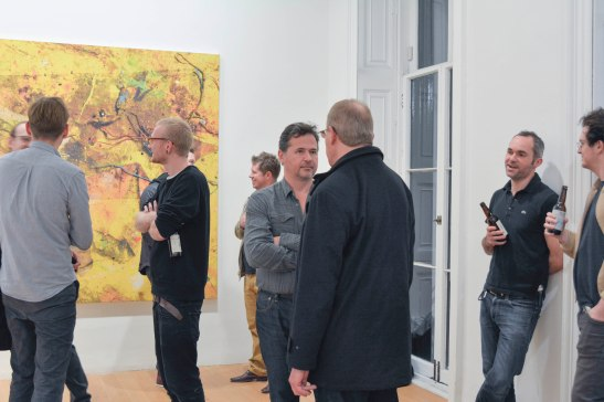 Jack Brindley (left), Laurent Delaye (centre) and Stefan Ruitenbeek (right). In the background, Peter Lamb's work 'Golden Army'.