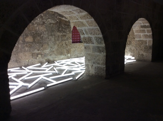 Bill Culbert, Flotsam Cartogena, 2014. Installation. Fluorescent tubes and cables. Variable dimensions.
