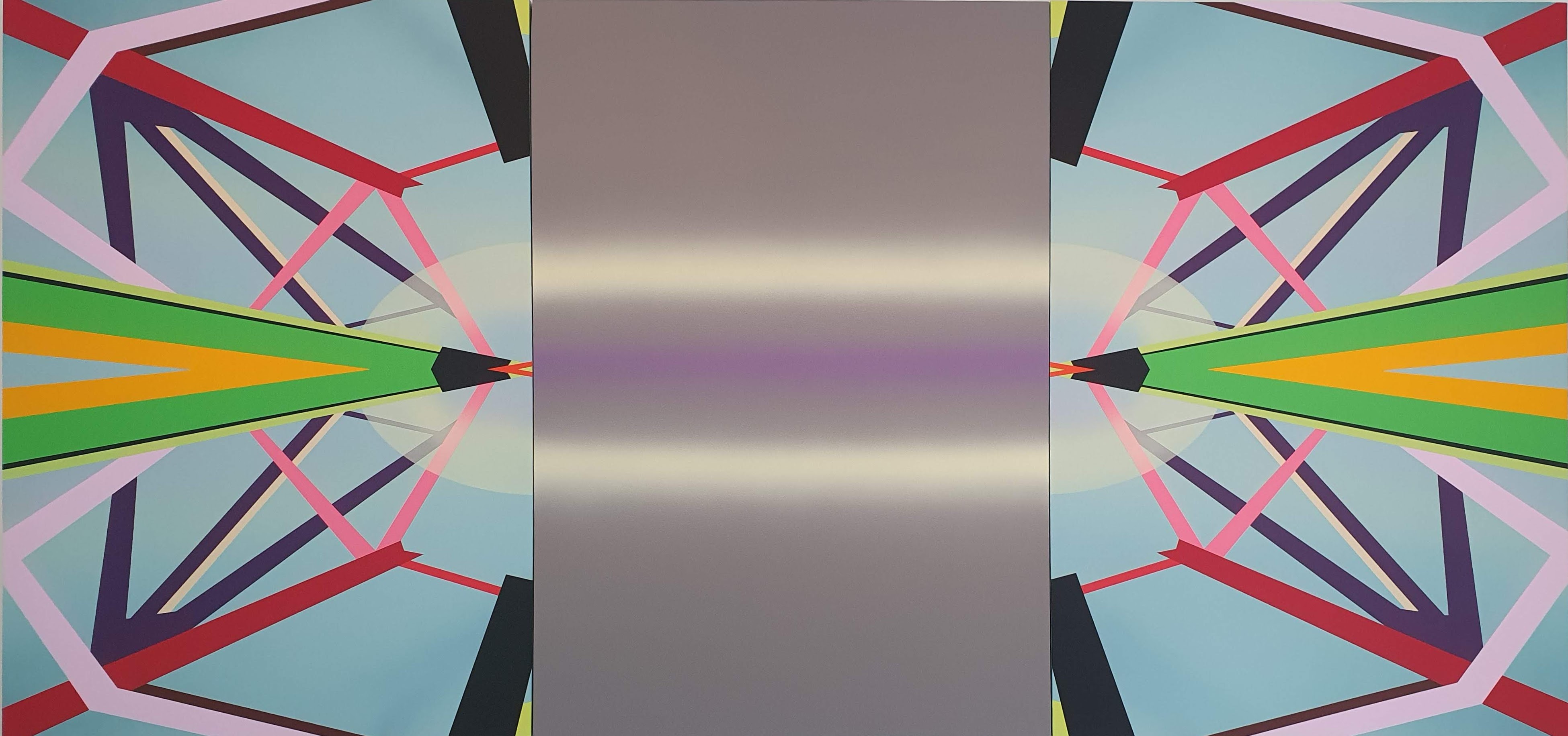Bérénice Mayaux, Untitled triptych 2019, acrylic on wood 100 x 210 cm